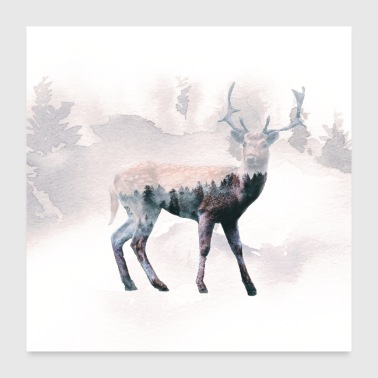 Deer and the forest - Poster 24x24