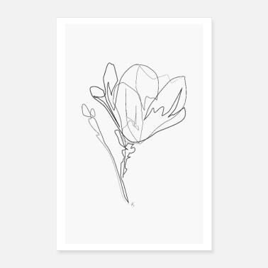 Black And White Magnolia Flower - Poster 8x12