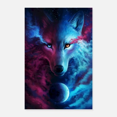 Abstract Galactic Wolf - Poster 8x12