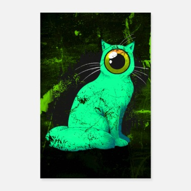 Cat Weird One-Eyed Cyclops Cat Poster (green) - Poster 8 x 12