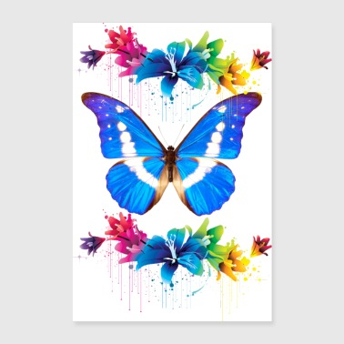 Butterfly with Flowers - Poster 8x12