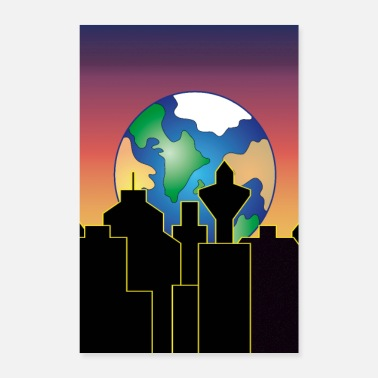 Over earth rising over the city skyline at night - Poster 8x12