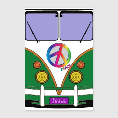 Peace and love, green love wagon, hipster bus art - Poster 8x12
