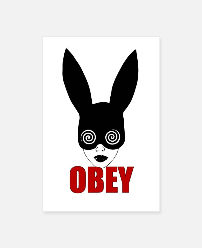 Graphic Art Posters - Black fetish bunny, OBEY, hypnotizing rat race - Posters white