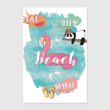 Sleeping eat sleep beach repeat - Poster 8x12