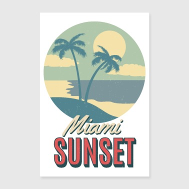 Beach Summer Miami Sunset Florida Key west Palms - Poster 8x12