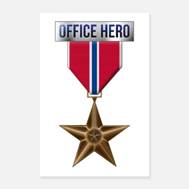 Funny Military Medal Bronze Star Office Hero Funny Military Army - Poster 8 x 12