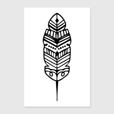 Tribal Shape Feather Maori Tattoo Ancient Tribe - Poster 8x12