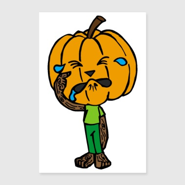 Halloween scared pumpkin crying rubbing eyes - Poster 8x12