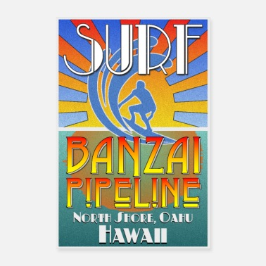 Hawaii Banzai Pipeline, North Shore, Oahu, Art Deco Style - Poster 8x12