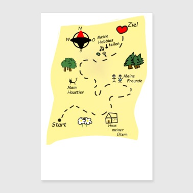 treasure map way to my heart gift idea - Poster 8x12