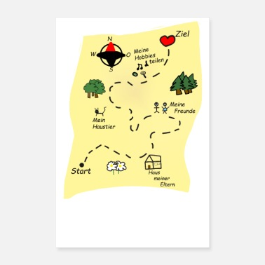 Map treasure map way to my heart gift idea - Poster 8x12