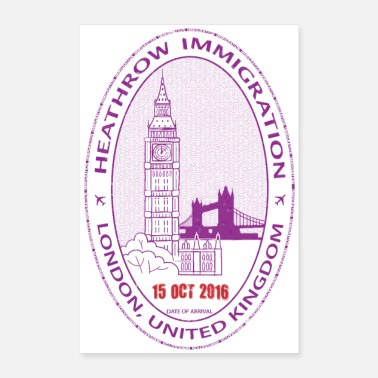 London London UK Passport Stamp - Poster 8x12
