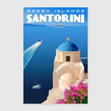 Greece Vintage Santorini Travel Poster - Poster 8x12