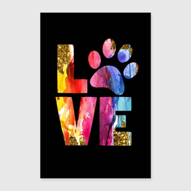 Cat Owner Dog Lover Gift Paw Watercolor Art - Poster 8x12