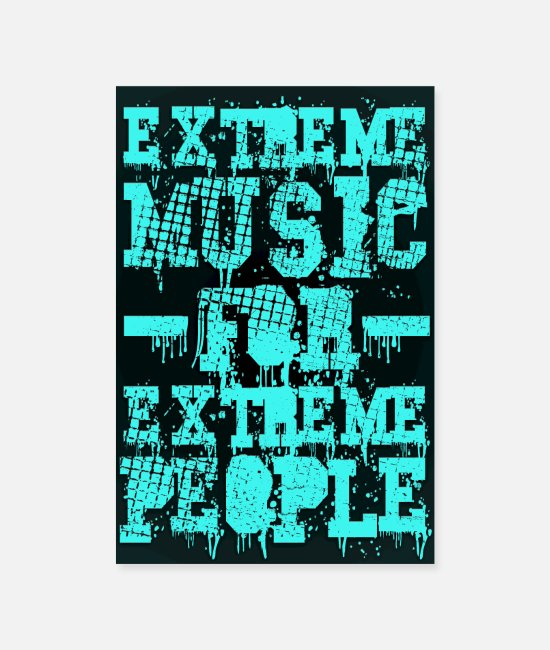 Double Bass Posters - Extreme music for extreme people - Poster cyan - Posters white