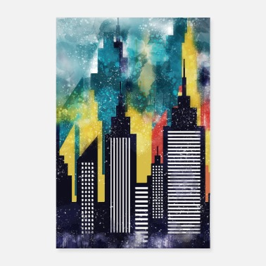 City Watercolor Art Of New York City Skyline - Poster