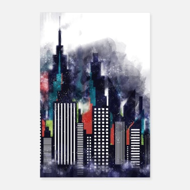 Building New York City Buildings In Watercolor Art - Poster 8 x 12