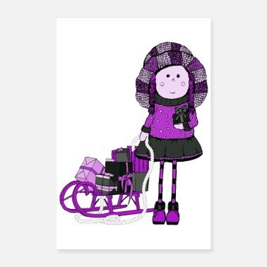 Advent Poster Girl Sled Gifts Winter magic - Poster 8 x 12