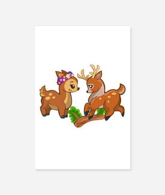 Stag Posters - Deer love by LindezaDesign - Posters white