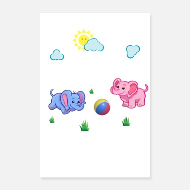 Playground elephant play ball t shirt by LindezaDesign - Poster 8 x 12