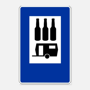 Countryside Camping camper sign with beer funny - Poster