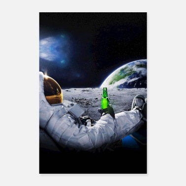 Selection Astronaut on the Moon with space beer ⛔ HQ quality - Poster 8 x 12