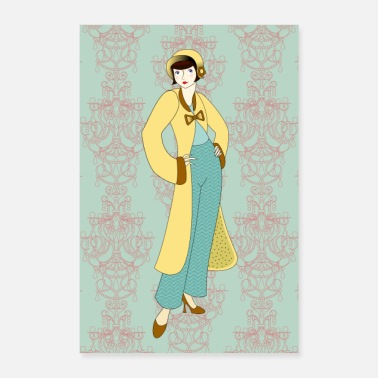 Coat Flapper girl with bobbed hair - Long yellow coat - Poster 8 x 12