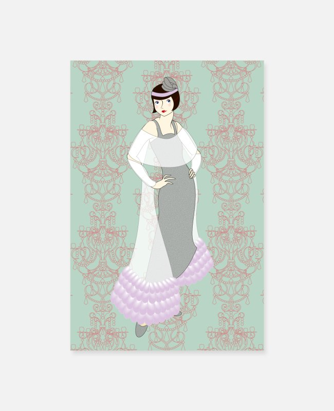 Highheels Posters - Flapper girl with bobbed hair - Evening gown - Posters white