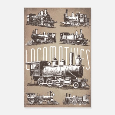 Locomotive Locomotive vintage paper - Poster