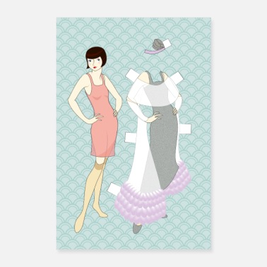 Charleston Flapper paperdoll - Evening gown - Poster