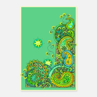 Zentangle Green Paisley Madness - Poster 8 x 12