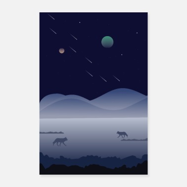 Landscape in the night with wolves - Poster 8 x 12
