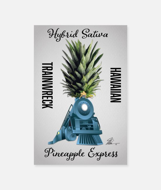 Dull Posters - Pineapple Express Cannabis Wall Poster - Posters white