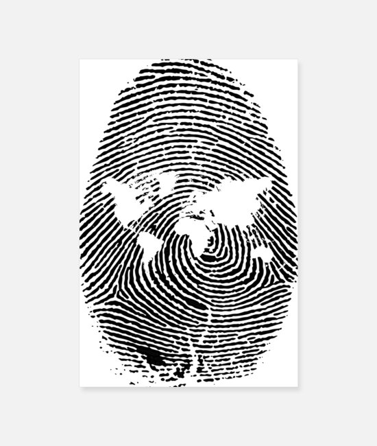 Earth Posters - fingerprint earth worlde - Posters white