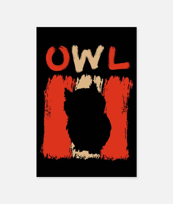 Nocturnal Bird Posters - 70s 80s Retro Owl Design Vintage Gift - Posters white