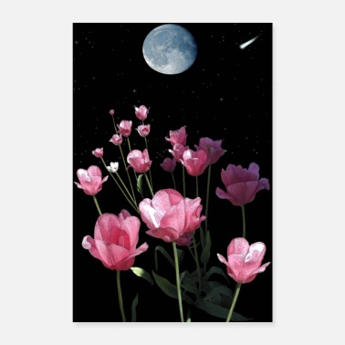 Comet TULIP MOON - Tulips and Moon Artwork - Poster