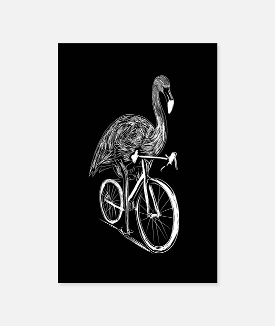 Cycling Posters - Cycling Flamingo Bicycle Cyclist Gift Flamingos - Posters white
