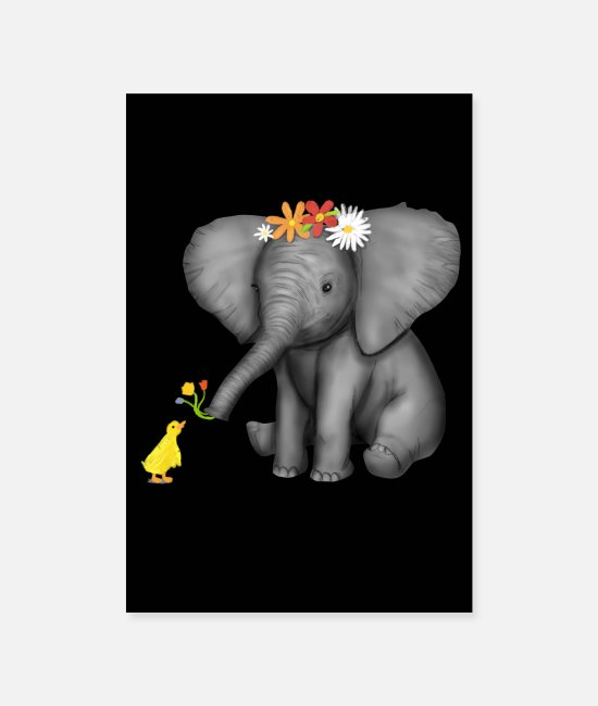 Art Posters - Baby Elephant & Duck Flowers Gift Elephants - Posters white