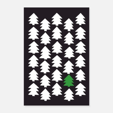 Pine Tree Pine forest black - Poster