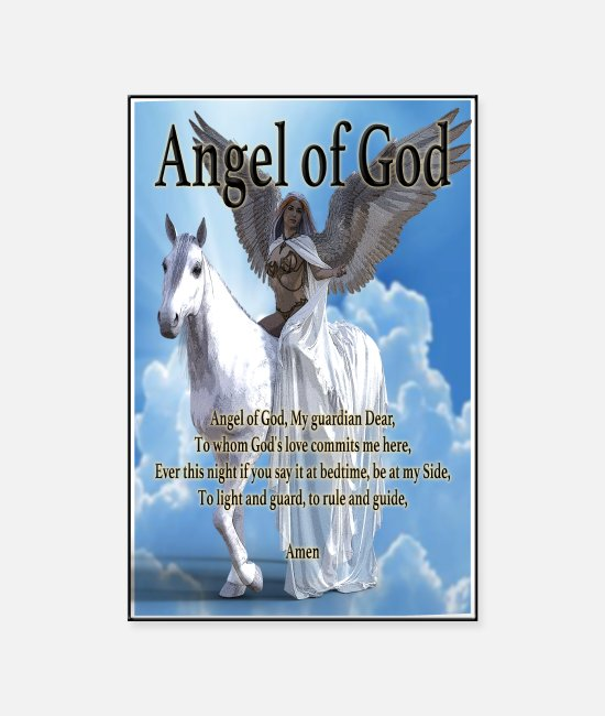 Heaven Posters - Angel of God, My guardian Dear (version with sky) - Posters white