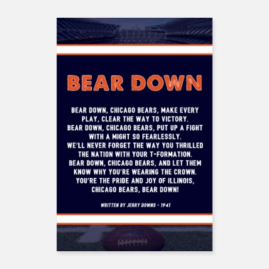Chicago Bear Down Lyrics Poster - Poster