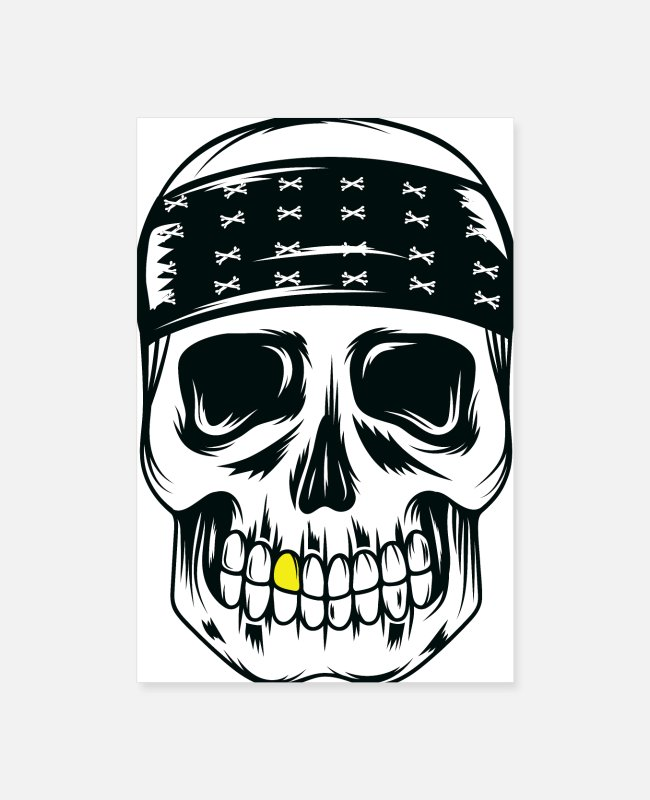 Outlaw Posters - Skull With Gold - Posters white