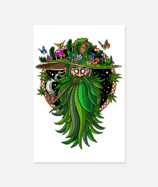 Nature Posters - Stoner Weed Wizard - Posters white