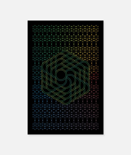 Pattern Posters - Green Flower of Life - Posters white