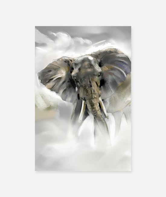 Artist Posters - African Elephant - Posters white