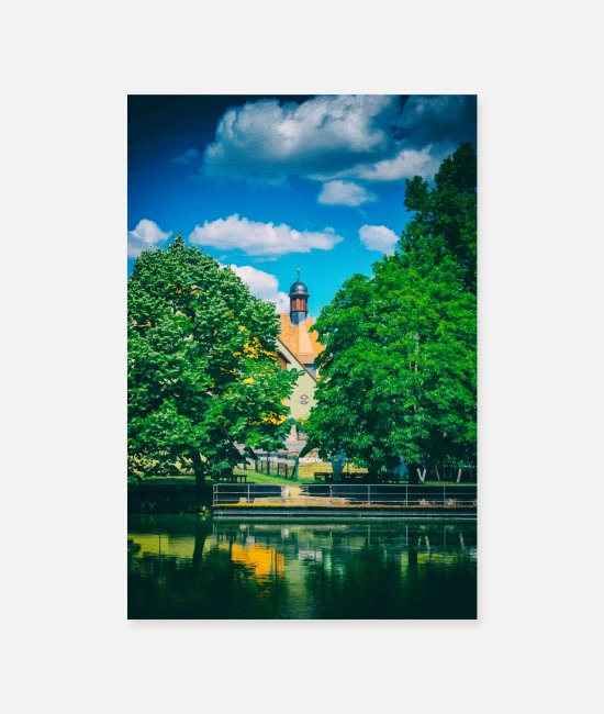 Artwork Posters - Lake view to a German village painting - Posters white