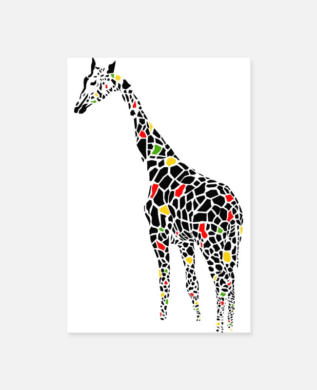 Drawing Posters - Black Giraffe - Posters white