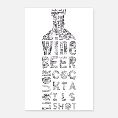 Bartender Bottle Tag Cloud - Poster