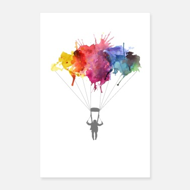 Live Cloud Skydiver Parachutist Skydiving Watercolor Art Gift - Poster